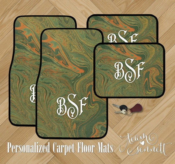Monogrammed Floor Mats >> Hunter Marble Personalized Car Floor Mats Green Gold And Etsy