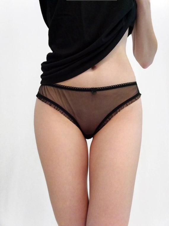 Sheer nylon knickers black nylon panties black sheer | Etsy