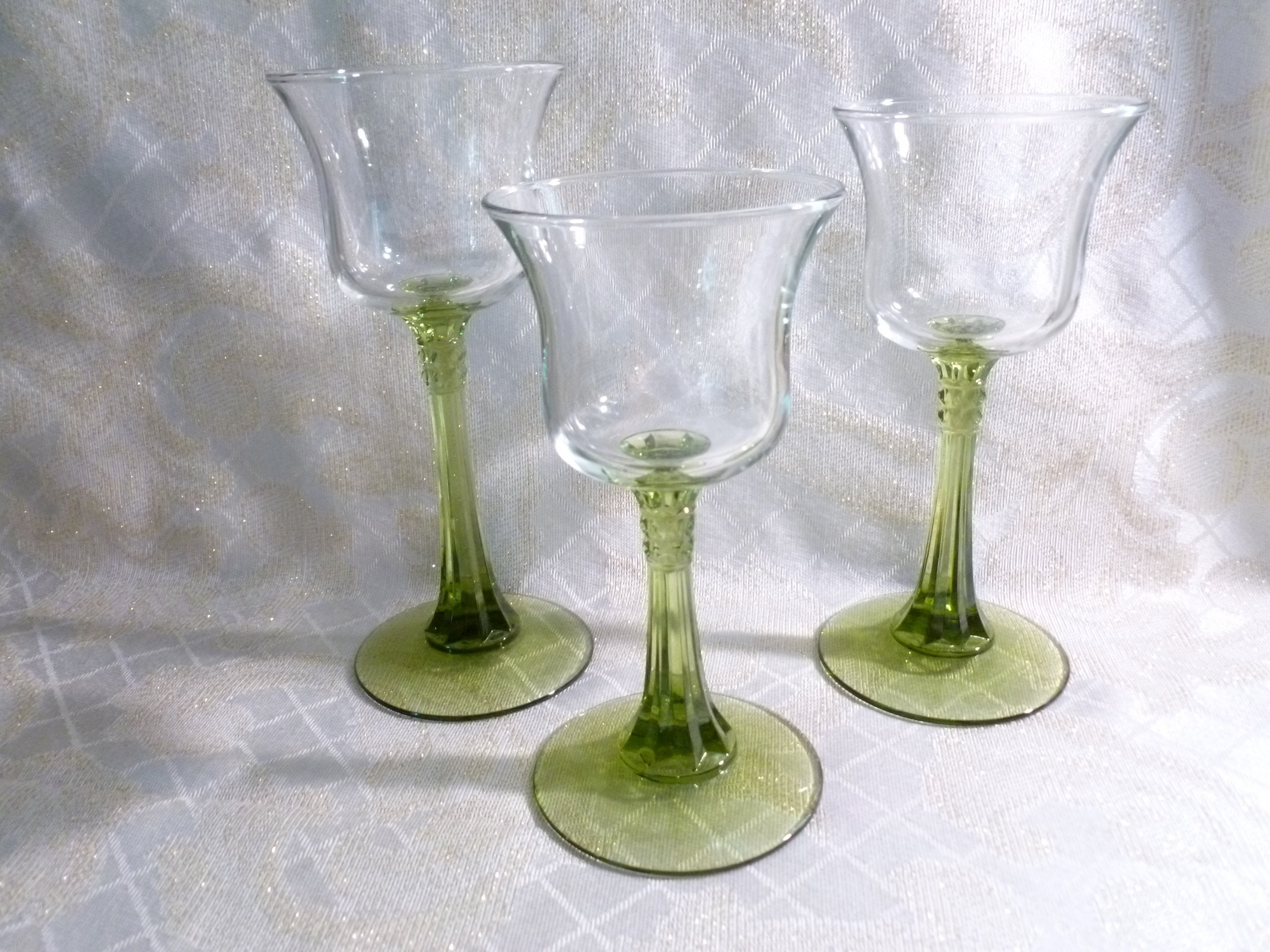 78d27acba5 Tealight Candle Holders Elegant Clear Tulip Cups On Detailed Green ...