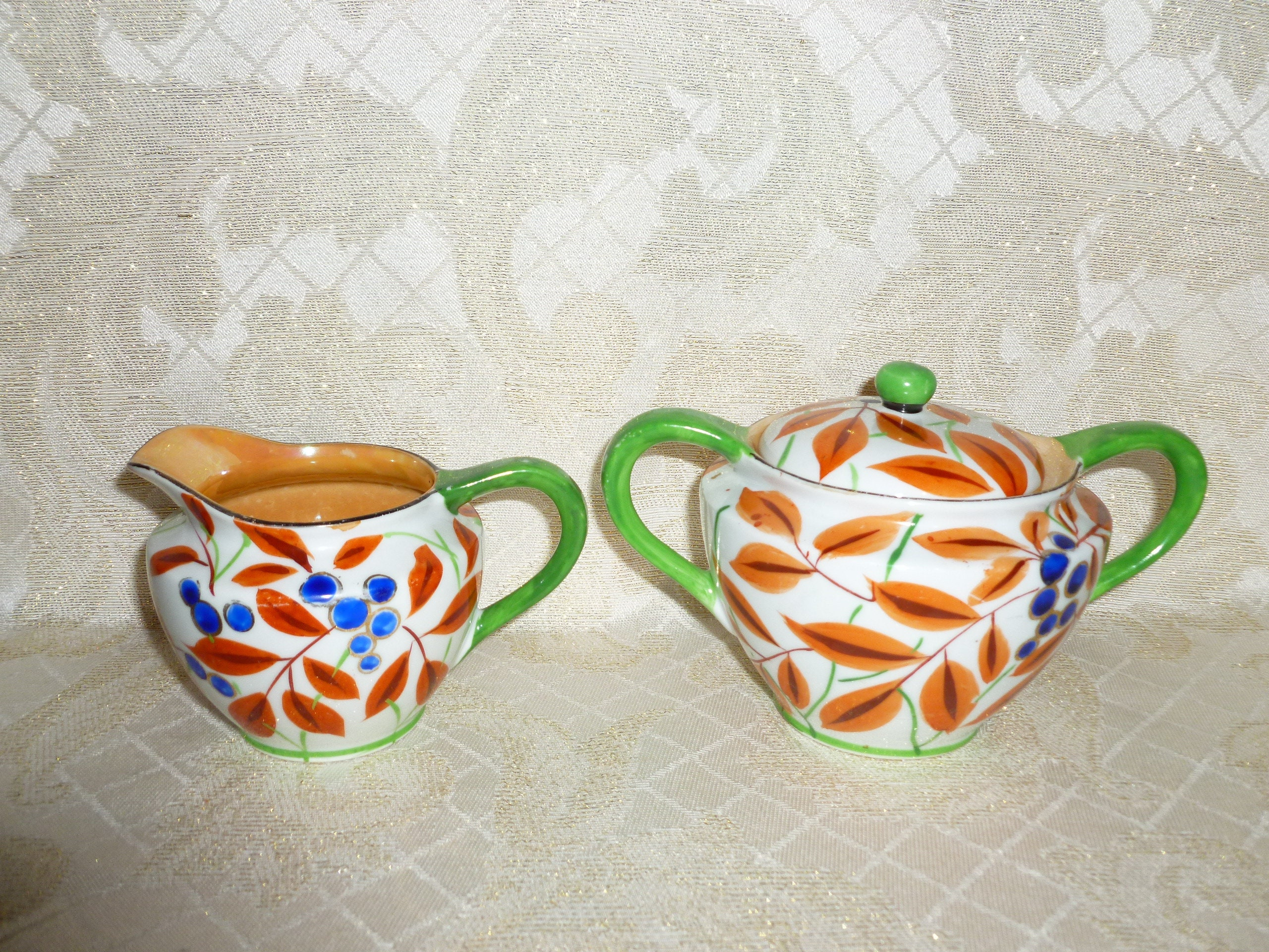 Vintage Gold Castle Chikusa Handpainted Creamer And