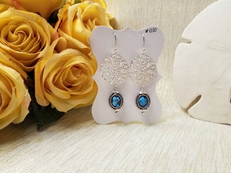 Handcrafted Artisan Earrings Exceptional Gifts Beautiful Blue Crystals Silver Plated Filigree And Ear Wires FREE Domestic SHIPPING
