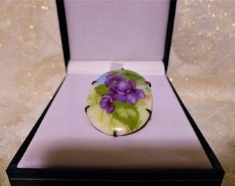 Porcelain Brooch Violet Floral Design Very Pretty