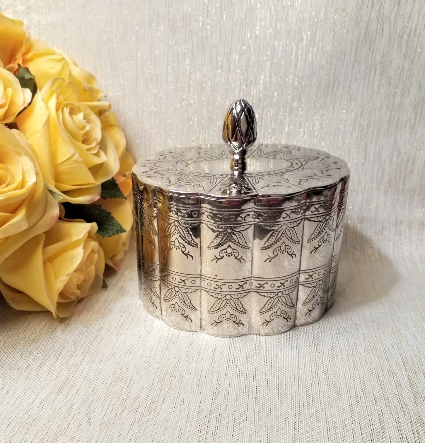 Jewelry Box With Lid Godinger Silverplated Etched Design And Burgundy Velvet Lining Exceptional Vintage Gift Always FREE Domestic SHIPPING