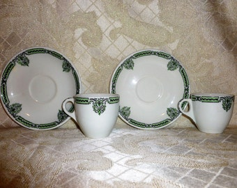 Beautiful Espresso Cups And Saucers McNicol Made For Mangrum-Holbrook Co. San Francisco, Ca. Mayfair Pattern