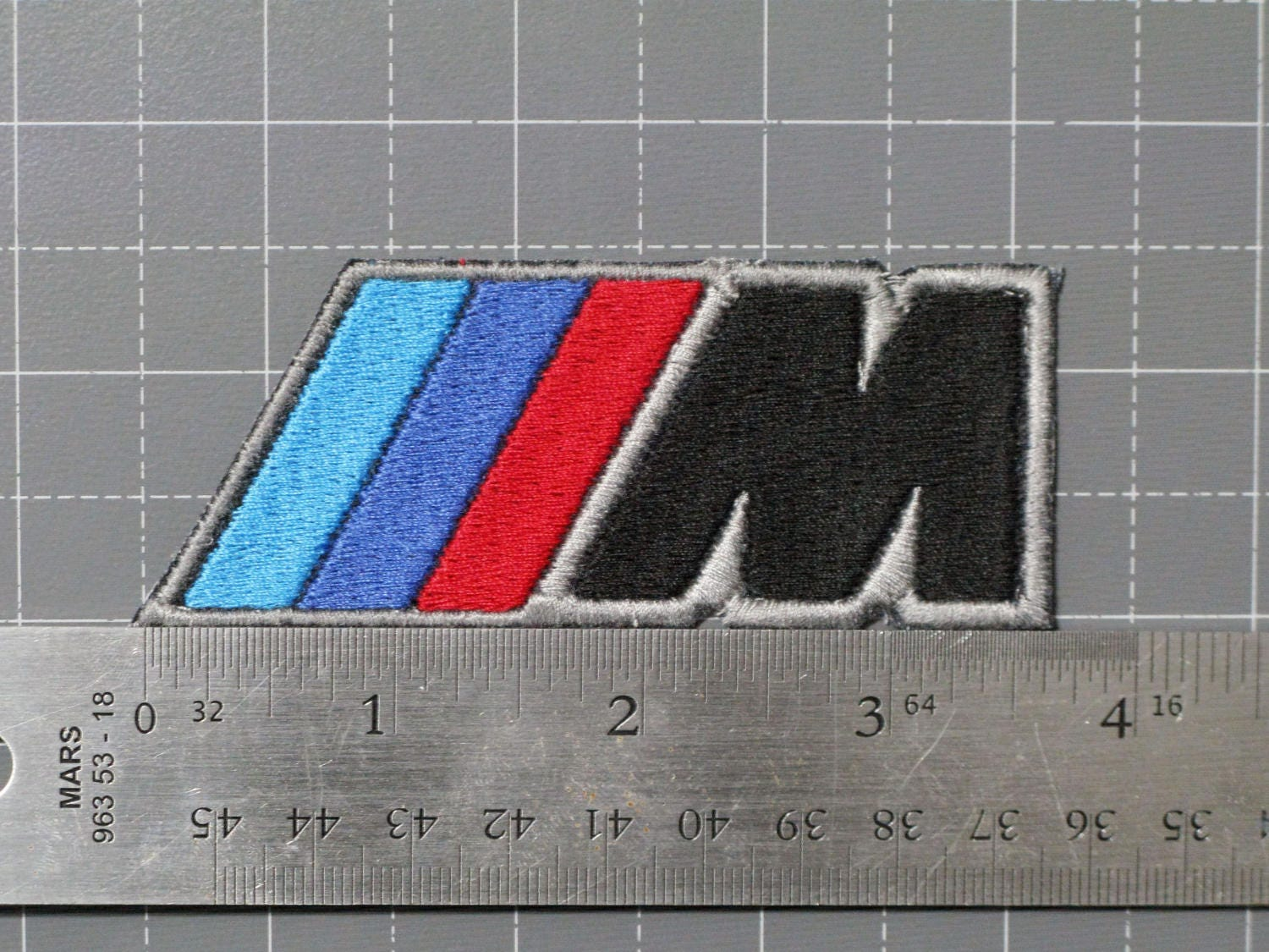 BMW M Logo Emblem Ensignia Black Letter on Black Textile Car Motorcycle  Racing Biker Patch Patches Embroidery - Made in USA