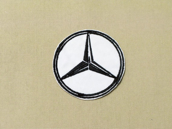 MERCEDES BENZ PATCH EMBLEM BADGE BLACK /& SILVER EMBROIDERED IRON ON