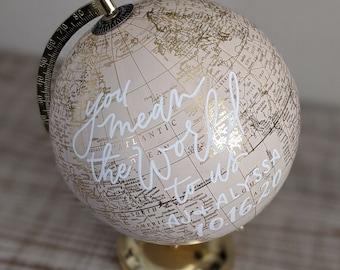Hand-personalized globe - medium neutral