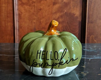 Personalized stoneware pumpkin - large green