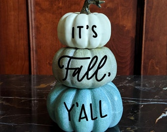 Personalized craft pumpkin - teal stack
