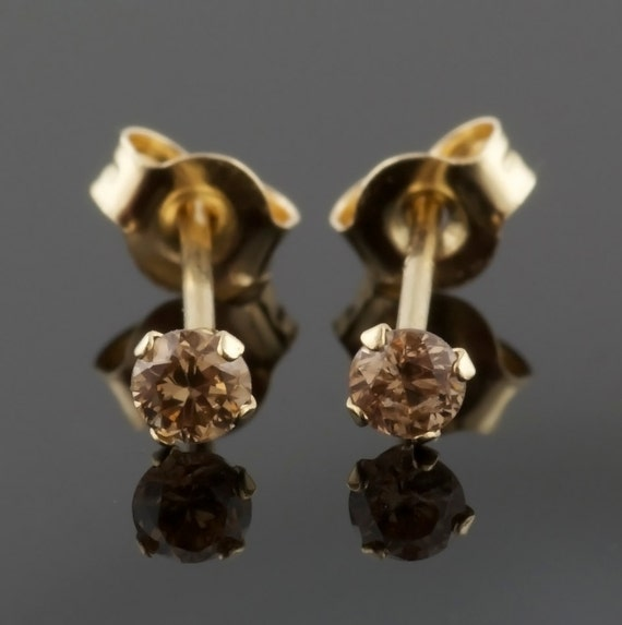 Chocolate Brown Diamond Earring Studs 14k Yellow Gold 14k Etsy