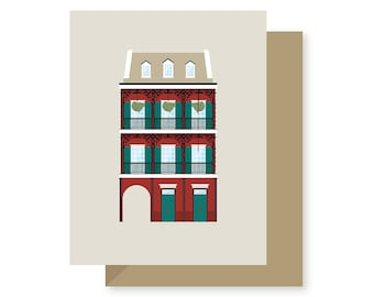 Creole Townhouse Historic House Building Style, French Quarter, Architecture Louisiana, New Orleans Greeting Card