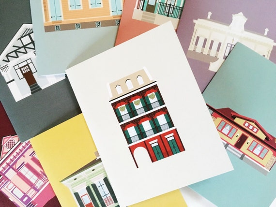 NOLA House Green New Orleans House Card with Orange Envelope Original Art Card Architecture Art Card Digitally Colored and Printed
