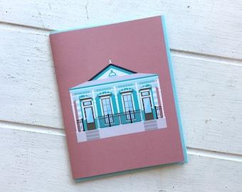 Italianate Shotgun Style House, Historic Architecture Louisiana, Pretty New Orleans Greeting Card