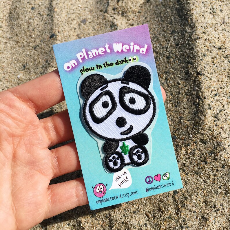 Stoney the Panda GLOW in the dark stick-on patch, Stoney the Panda,  embroidered mini patches, 90s style, sticker patch