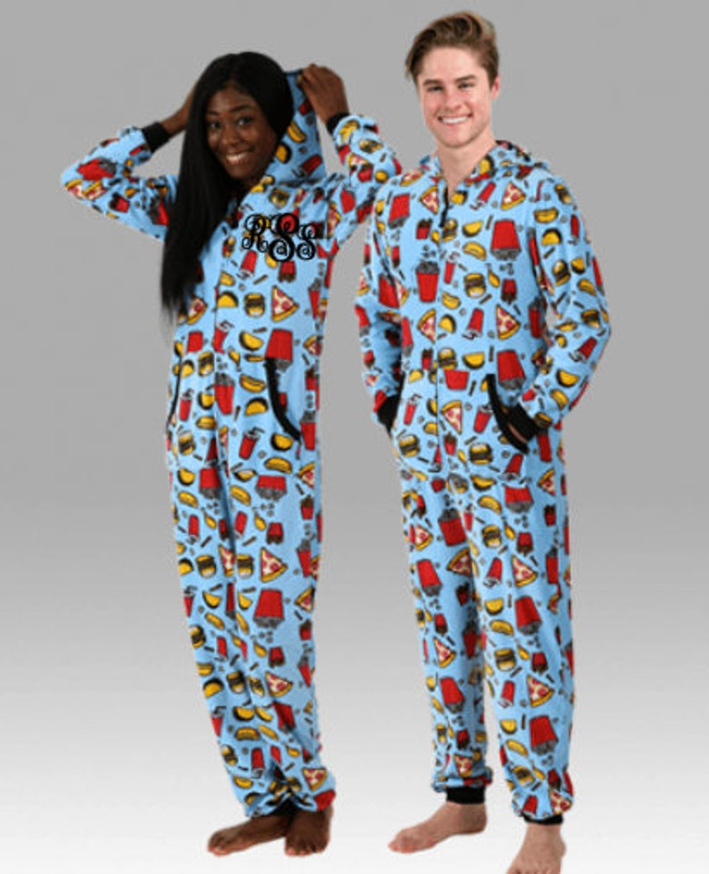 a20198514 JUNK FOOD Hooded Union Suit Unisex Pajamas Onesie Long | Etsy