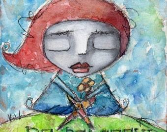 Whimsical Portrait Painting// Folk Art Girl// Mixed Media Art Print// Decorative Art Print// Wall Art For Women// Greeting Card// Notecard