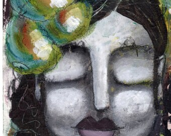 Whimsical Art Print// Rustic Art Print// Prints for Women// Decorative Art Print// Wall Art// Girl with Closed Eyes// Shabby Chic Print