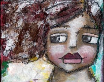 Rustic Portrait Painting// Folk Art// Shabby Chic Art Print// Decorative Art Print// Wall Art For Women// Greeting Card// Notecard