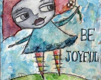 Folk Art Girl// Whimsical Portrait Painting//  Mixed Media Art Print// Decorative Art Print// Wall Art For Women// Greeting Card// Notecard