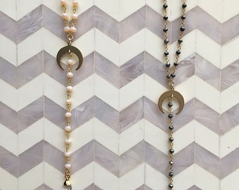 Crescent Lariat Boho Necklace