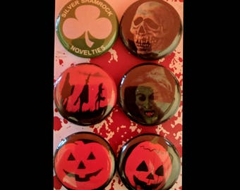 "L008 Horror 1"" Pinback Button Pin Set of 6 Halloween 3 III: Season of the Witch John Carpenter Silver Shamrock Novelties Pumpkin Skull Movie"