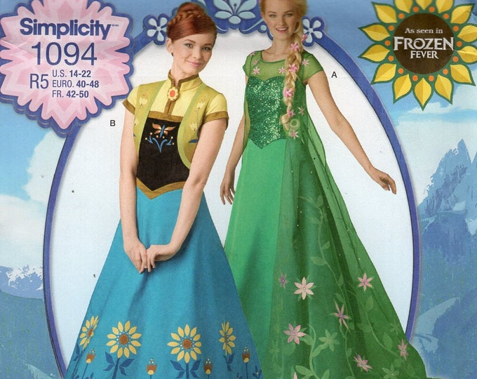 Free Usa Shipping Simplicity Sewing Pattern 1094 Misses Disney Frozen Fever Costume Size 6/14 14/22 plus Bust 30 31 32 34 36 38 40 42 44