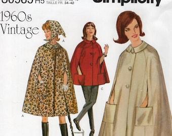 Simplicity 0985 8017 Free Us Ship Vintage 1960's Gidget Cape Cloak Head Scarf Reproduction Sewing Pattern  Uncut Size 6/14 14/22 Bust 30-44