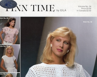 FREE US SHIP Vintage 1980's Knit Crochet Finn Time Sweaters by Eila Volume 24 Cardstock Booklet 6 pages  Size 4 6 8 10 12 14 16 18 20 22