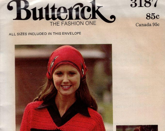 FREE US SHIP Butterick 3187 Sewing Pattern  Vintage Retro 1970s 70s Sweater to Crochet Uncut Size P S M