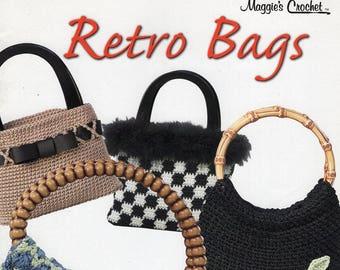 FREE US SHIP Maggie's Crochet Retro Bags Handbags Purse Wood Bead Handles Like New 10 pages 8 designs Allison Maggie Weldon
