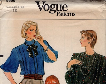 FREE US SHIP Vogue 8866 Vintage Retro 1980s 80s  Sewing Pattern Uncut 12 Bust 34 Pleated Blouse Wide Shoulder Collar Sleeve Variations