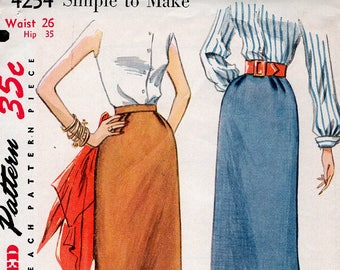 FREE US SHIP Original Uncut Sewing Pattern Vintage Retro 1950s 50s Simplicity 4254 Pencil Slim Skirt Uncut Waist 26
