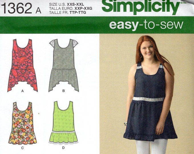 Simplicity 1362 Free Us Ship Sewing Pattern 6 Styles Tunic Tops Loose Fitting Size 4/26  Bust 29 30 31 32 34 36 38 40 42 44 46 48 plus