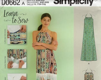FREE US SHIP Simplicity 0662 8382 Sewing Pattern Learn to Sew Halter Peasant Dress Tunic Size 4/26  Bust 29 30 31 32 34 36 38 40 42 44 46 48