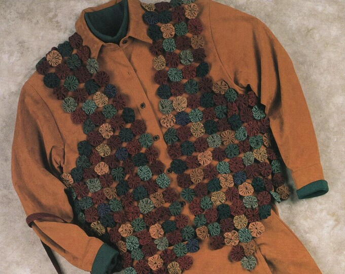 Free Us Ship  Craft Sewing Pattern Unused Indygo Junction Designs Yo Yo Quilt Vest Burst Drawstring Bag Purse Fall ij307 1993 Amy Martin