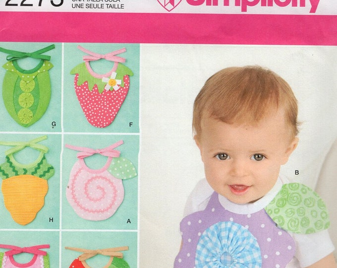 Free Us Ship Craft Sewing Pattern Simplicity 2273 Veggie Fruit Baby Bibs Pea Strawberry Apple Orange Carrot Applique Uncut new Out of Print