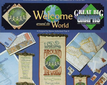Free Us Ship X Cross Stitch Pattern Great Big Graphics Out of Print Booklet Bell Pulls Welcome Around the World Language Like New 7 pages