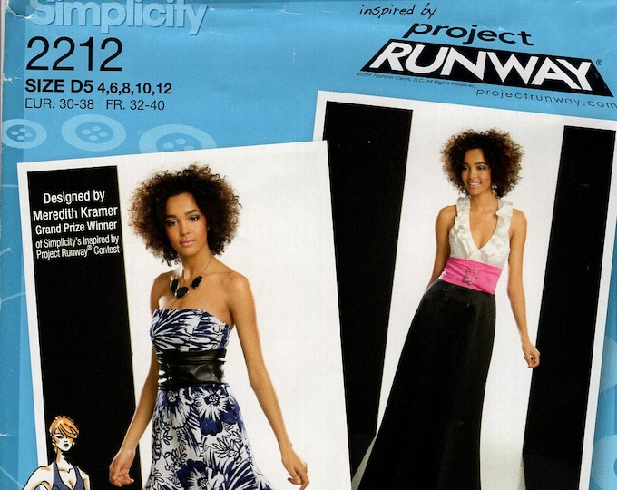 FREE US SHIP Simplicity 2212 Project Runway Dress Ruffle Halter Size 4/12  12/20 Bust 29 30 31 32 34 36 38 40 42 Sewing Pattern