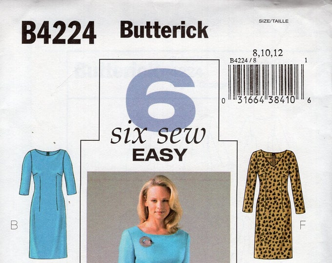 56189702cf72f0 Free Us Ship Sewing Pattern Butterick 4224 6 Fast Easy Dress Knee Length  Size 8 10