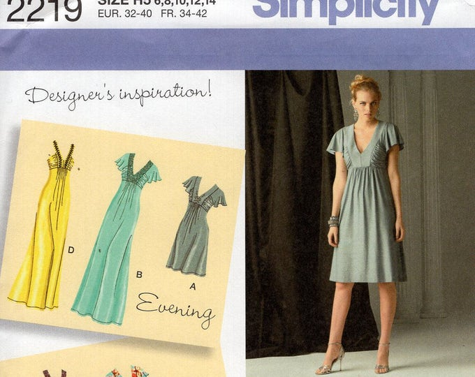 Simplicity 2219 Sewing Pattern Free Us Ship Day Evening Maxi Dress Size 6/14  6 8 10 12 14 16 18 20 22 Bust 30 32 34 36 New