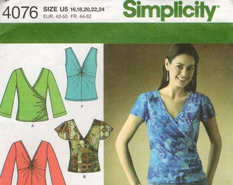 FREE US SHIP Simplicity 4076 Sewing Pattern Knit Tops 6 Looks Cross Wrap Scoop Neck Size 16 18 20 22 24 Plus Size Bust 38 40 42 44 46