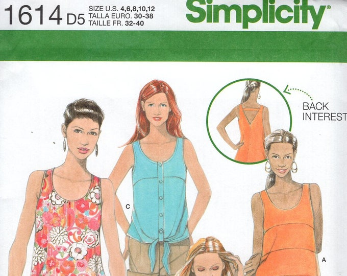 FREE US SHIP Simplicity 1614 Cute Tops Back Interest 4 Looks Size 4/12 12/20 Bust 29 30 31 32 34 36 38 40 42 Sewing Pattern