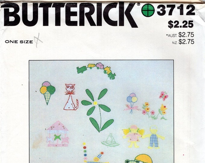 Butterick 3712 Sewing Pattern Free Us Ship Vintage Retro 1970s 70s Uncut Transfer Embroidery Applique Like New Cat Baby Sports Car Train Sun