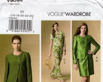 FREE US SHIP Vogue 9094 Sewing Pattern Separates Wardrobe Dress Jacket Top Pants Size 16 18 20 22  24 Bust 38 40 42 44 46 Last size left