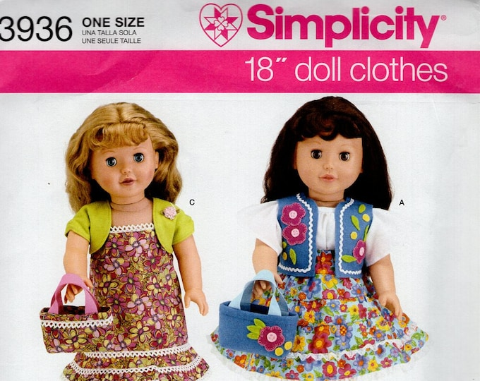 """Simplicity 3936 Free Us Ship 18""""Doll Clothes Wardrobe New Sewing Pattern Fits American Girl Out of Print Vest Dress Purse Andrea Schewe New"""