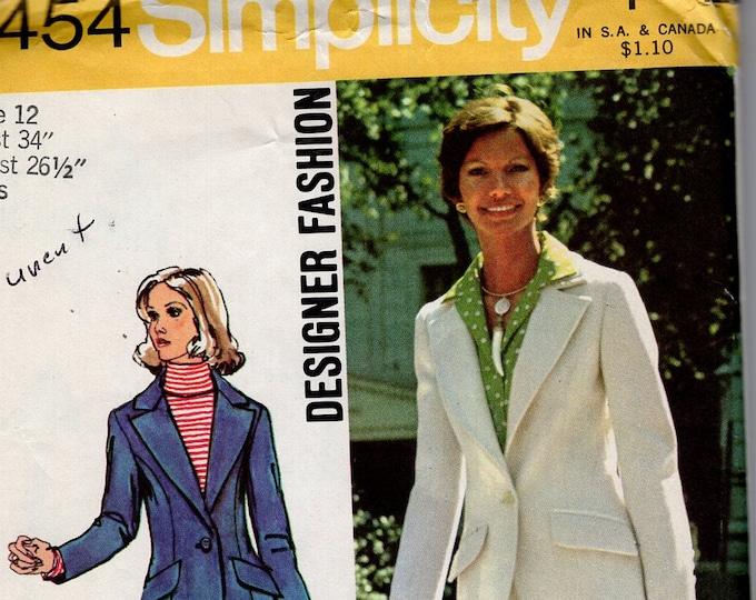 FREE US SHIP Simplicity 5454 Vintage Retro 1970's 70's Sewing Pattern Wide Lapel Jacket Cuff Pants Wide leg Uncut Sewing Pattern Bust 34
