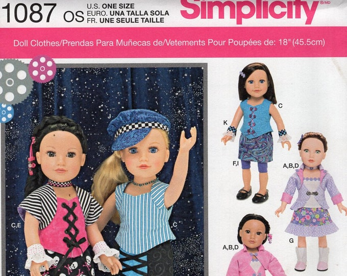 """Simplicity 1087 Free Us Ship 18""""Doll Clothes Wardrobe New Sewing Pattern Fits American Girl  Biker Jean Dickhaut Out of Print"""
