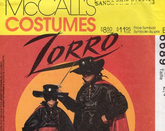 FREE US SHIP Sewing Pattern McCall's 6689 Boys Costume Zorro Hat Cape Boots Shirt Mask Size Kids 2/4 7/8 Adult 36 38 Uncut Halloween Costume