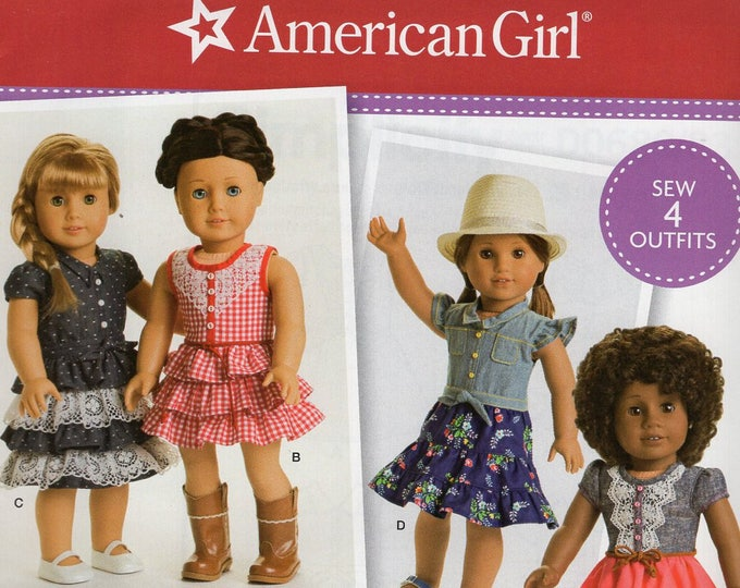 """FREE US SHIP Simplicity 0680 8359 18""""Doll Clothes Wardrobe Western Dress New Sewing Pattern Official American Girl Dolls 4 Outfits"""
