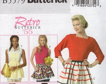 FREE US SHIP Butterick 5579 Apron Sewing Pattern Reproduction 1955 1950's Hostess cocktail Miss Factory Folded Unused Brand new!